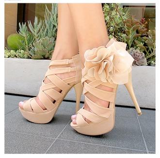 shoes nude high heels flower high heels heels with straps heels with flowers sherri hill beige dress nude dress open back short dress prom dresses rhinestone dresses open toe high heels