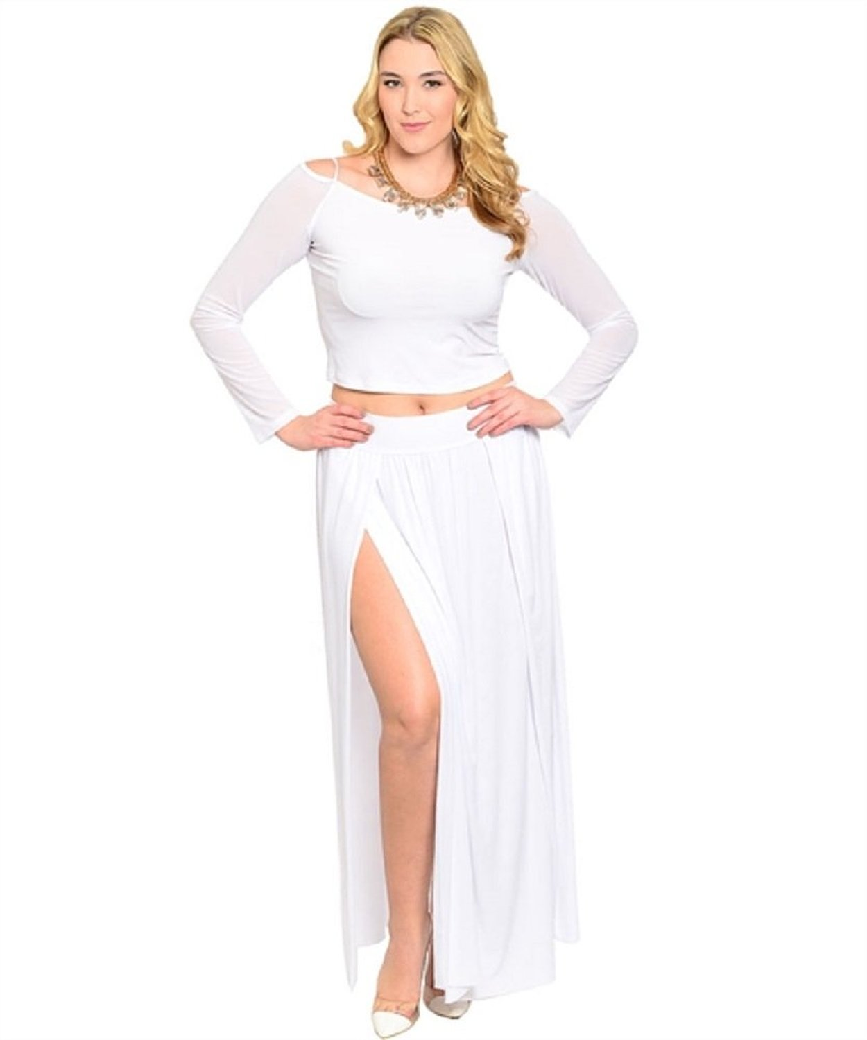 Eien women's sexy 2 piece white high slit skirt and top set at amazon women's clothing store: