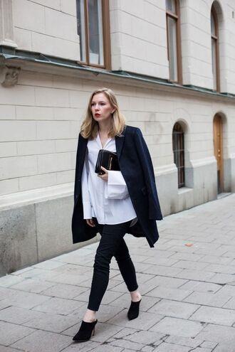 shoes suede mule mules black shoes pants black pants shirt white shirt coat black coat clutch black bag black clutch blogger office outfits