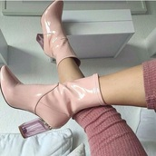 shoes,high heels boots,pink,ankle boots