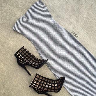 striped dress grey dress peep toe boots