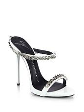 shoes,giuseppe zanotti silver chain mules,seen on rihanna