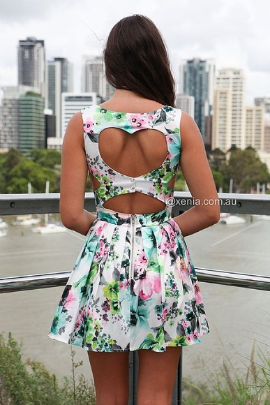 floral dress multi heart back open skater