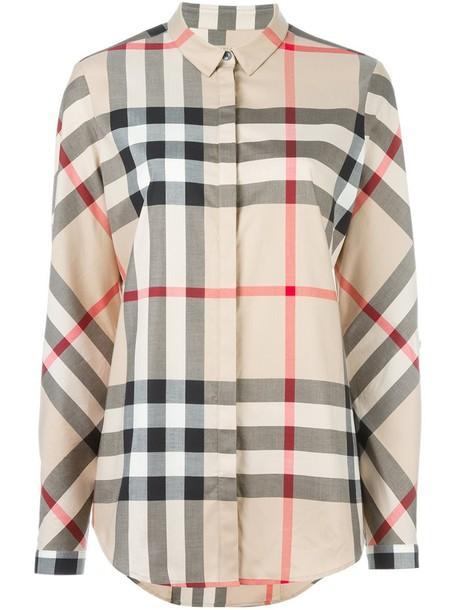 Burberry shirt women spandex nude cotton top