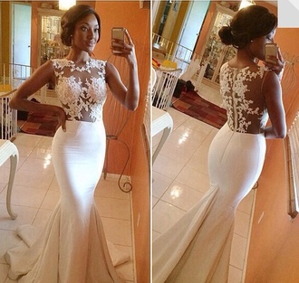 dress prom prom dress long dress long fitted white dress white formal sleeveless mermaid slim formal dress mermaid dress mermaid prom dresses lace dress lace wedding dresses