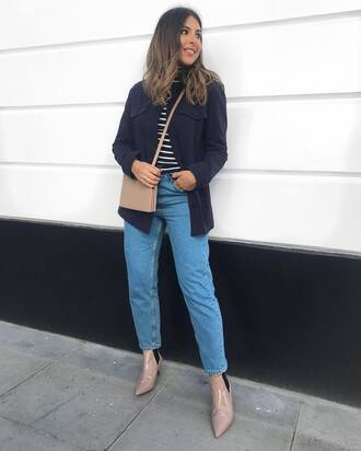 jacket blue jacket top blue top jeans blue jeans handbag beige handbag shoes pink shoes bag