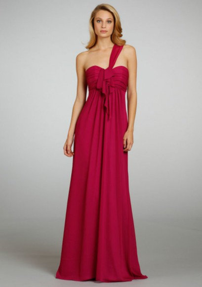 one shoulder ruched chiffon a-line empire floor