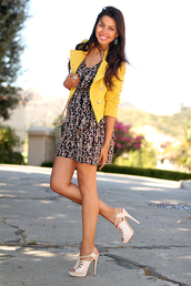yellow jacket,shoes,printed dress,nude heels,jacket