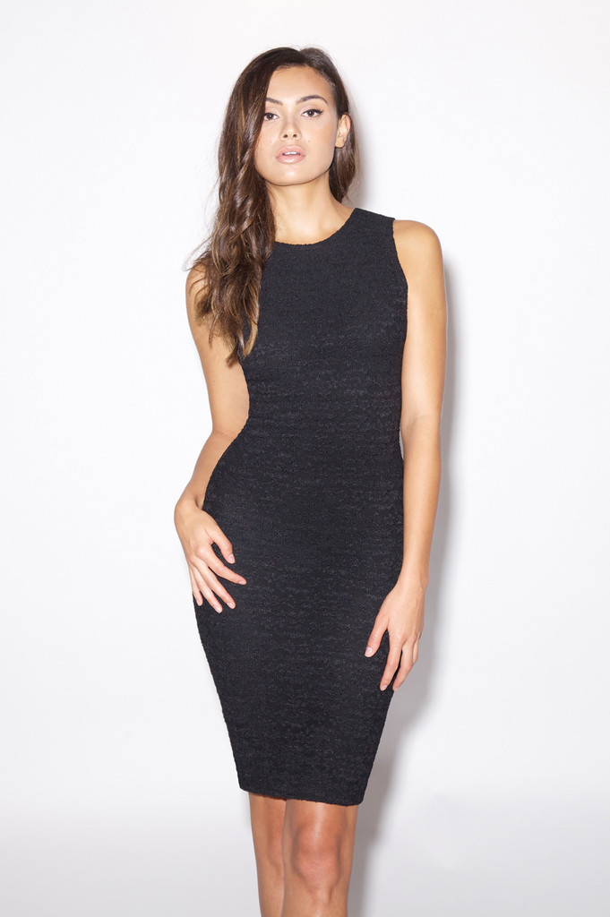 Black Lace Zip Dress - PAVON NYC