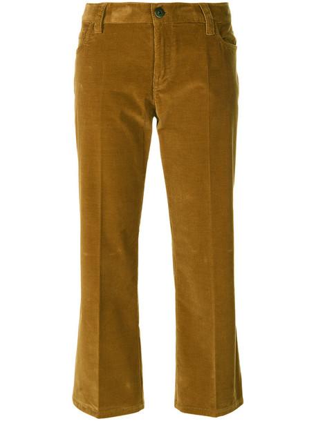 Prada cropped women spandex cotton brown pants