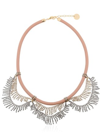 necklace gold blue pink jewels