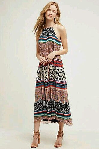 dress boho dress midi dress bohemian patterned dress anthropologie