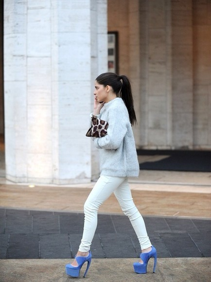 sweater streetstyle shoes winter cheetah print white