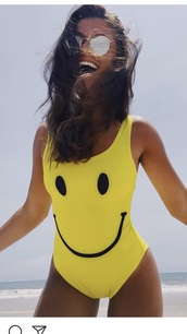 swimwear,yellow swimwear,yellow,one piece swimsuit,smiley face top,smiley