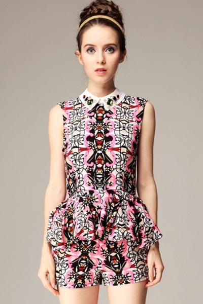 Symmetrical Abstract Print Suit - OASAP.com
