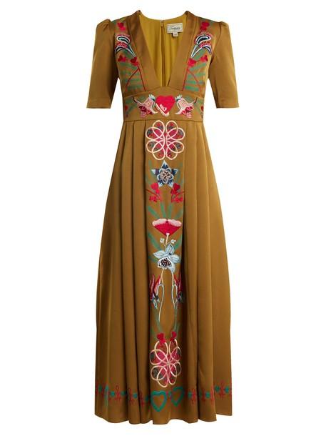 Temperley London dress satin dress embroidered floral satin tan