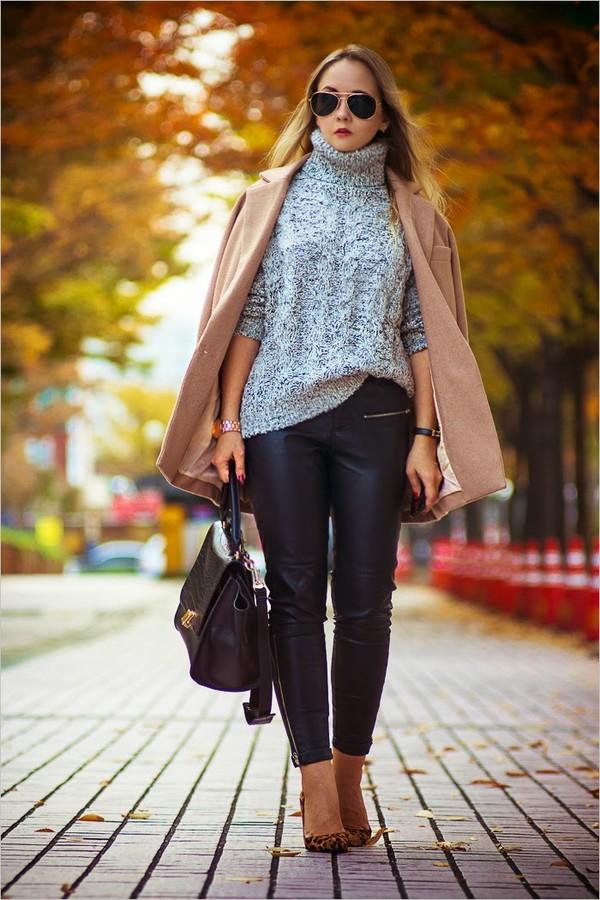 my blonde gal coat bag sweater jewels shoes