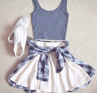dress skirt skater check tartan flannel pattern blue white navy tumblr girl cute teenagers indie alternative rock cool summer spring beach party tank top knitted crop top shirt white skirt skater skirt grey top fall outfits