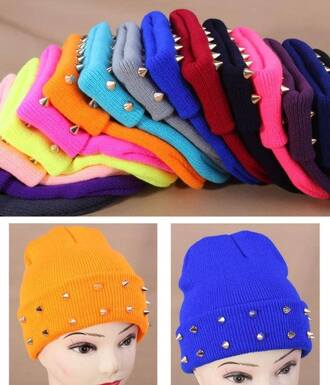 hat beanie spike spikes colorful head