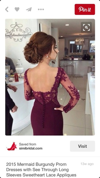 dress burgundy prom dress lace prom gown