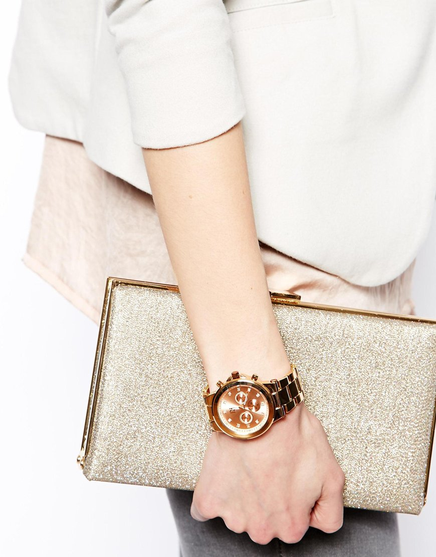 River Island Rose Gold Aminola Chronograph Watch at asos.com