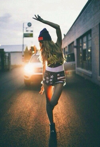 america american american girl girl black beanie white shirt car lights zap heels pewde blond hair neon highway