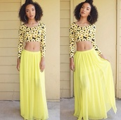 skirt,yellow,floral tank top,top,jewels