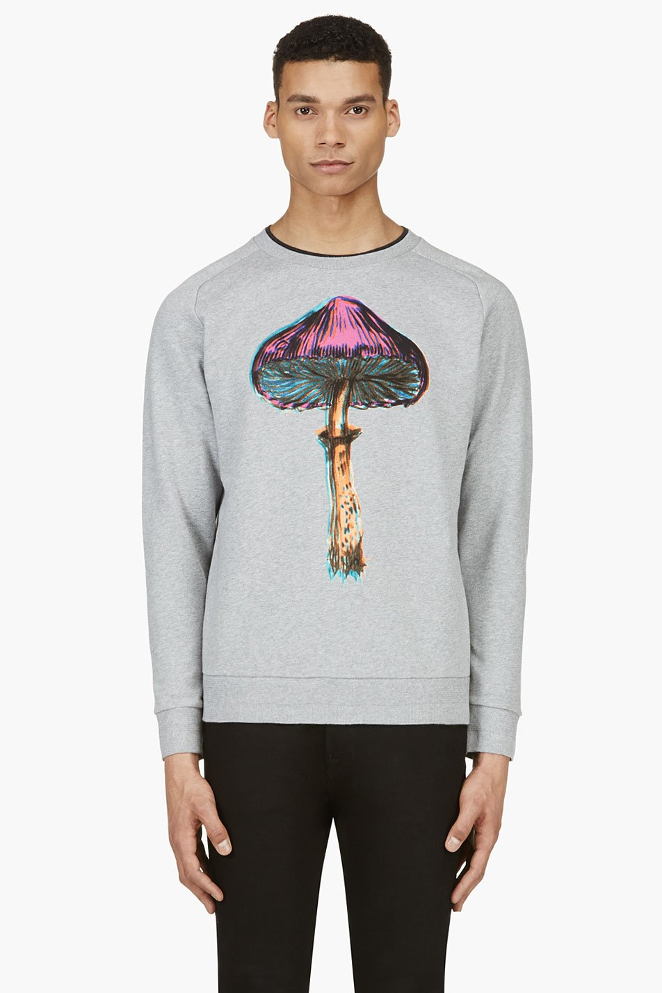 paul smith grey long sleeve mushroom print crewneck