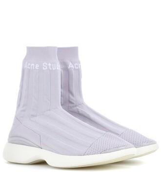 mesh sneakers purple shoes