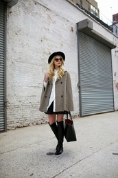 atlantic pacific,blogger,sunglasses,cape,knee high boots,coat,top,skirt,shoes,bag