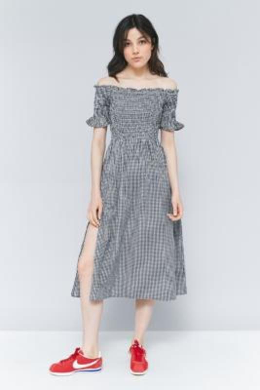 51821325c Up to 75% off Kimchi Blue Picnic Gingham Off-The-Shoulder Midi Dress, BLACK  & WHITE