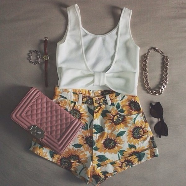 shirt shorts blouse jewels bag sunflower denim short