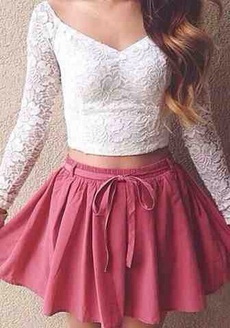 top white lace v neck cute summer autumn sleeves style beautiful detail lacy skirt hair accessory shirt