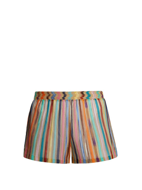MISSONI MARE Vertical striped knitted shorts in gold / multi