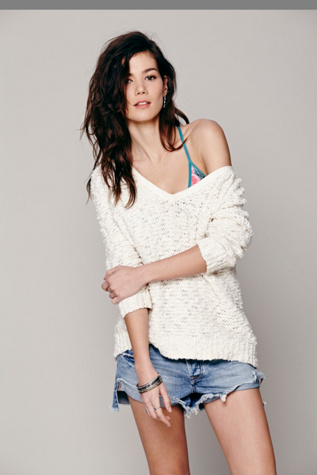free people womens shaggy knit pullover