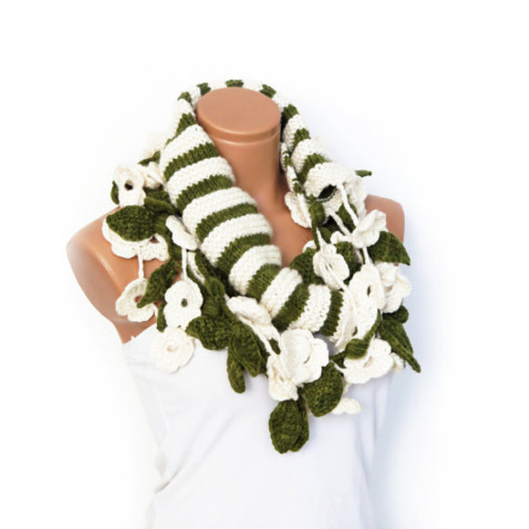 floral cream scarf infinity scarf circle scarf leaf striped knit knit scarf knitted scarves green lariat scarf