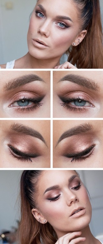 make-up bronze bronzed copper eyeliner liner black blue eye eyes brown light light brown white nude eye pencil brow brows eyebrow eyebrows concealer highlight highlighter nude lips lips lip lipstick make-up artist pink blush bronzer contour contouring linda hallberg
