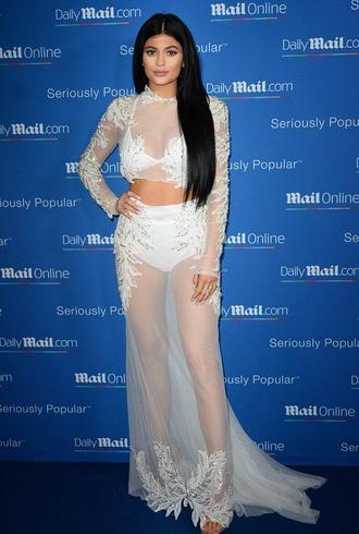 skirt sheer top gown white kylie jenner sandals wedding dress white dress shoes kardashians dress