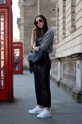 jumpsuit dungaree overalls sneakers sweater sunglasses bag