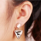 jewels,18k rose gold earrings,triangle earrings,crystal earrings