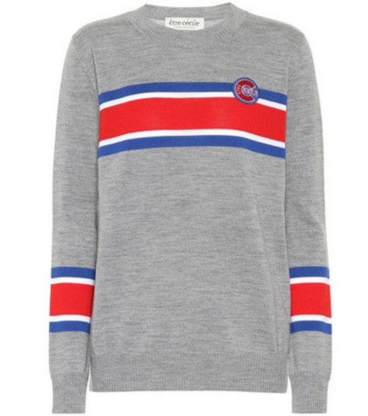 Être Cécile Boyfriend striped wool sweater in grey