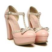 shoes,heels,high heels,thick heel,pink,cotton pink,t-strap heels,bow