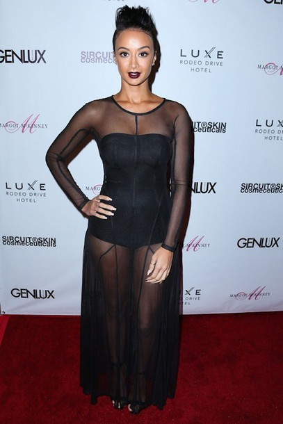 dress sheer draya michele black maxi dress