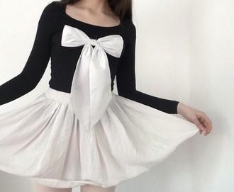 shirt bow kawaii urban outfitters black monocrome cute