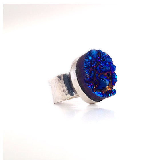 Blue Titanium Druzy Sterling Silver Ring Chunky by camilaestrella