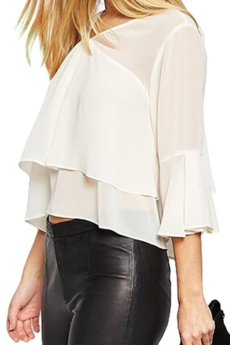 blouse white white blouse zaful solid color large blouse tie up tie up back layers three-quarter sleeves leather leather leggings summer casual summer colection shirt