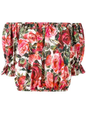 blouse cropped rose women cotton print pink top