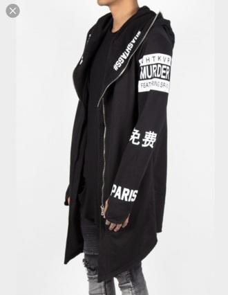 jacket black cape hoodie