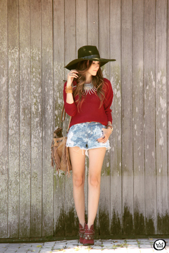 fashion coolture blogger hat burgundy sweater silver necklace denim shorts shorts sweater bag shoes