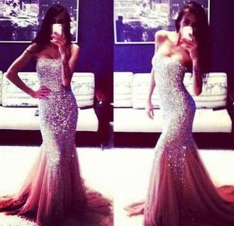 dress sequin mermaid prom long prom dress prom dress pink prom dress 2014 prom dresses sparkles jewels jeweled dress prom dress blouse pink dress strapless prom  glitter sparkly dress prom gown